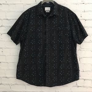 🌙 CactusMan Black Button Down Bird Print Collar
